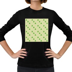 Christmas Wrapping Paper Pattern Women s Long Sleeve Dark T Shirts