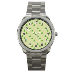 Christmas Wrapping Paper Pattern Sport Metal Watch