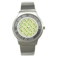 Christmas Wrapping Paper Pattern Stainless Steel Watch