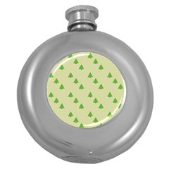 Christmas Wrapping Paper Pattern Round Hip Flask (5 Oz)