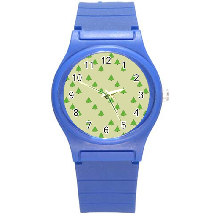 Christmas Wrapping Paper Pattern Round Plastic Sport Watch (S)