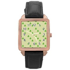 Christmas Wrapping Paper Pattern Rose Gold Leather Watch