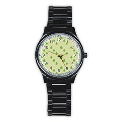 Christmas Wrapping Paper Pattern Stainless Steel Round Watch