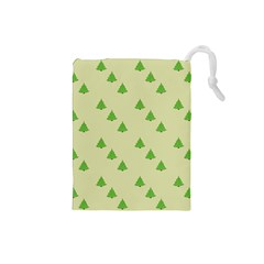 Christmas Wrapping Paper Pattern Drawstring Pouches (small)