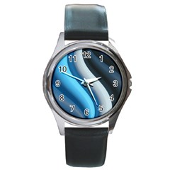 Abstract Pattern Lines Wave Round Metal Watch