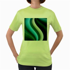 Abstract Pattern Lines Wave Women s Green T Shirt