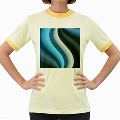 Abstract Pattern Lines Wave Women s Fitted Ringer T Shirts