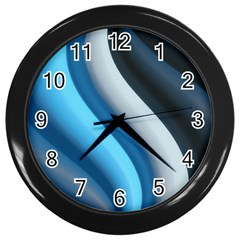 Abstract Pattern Lines Wave Wall Clocks (Black)