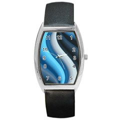 Abstract Pattern Lines Wave Barrel Style Metal Watch