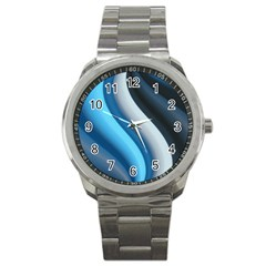Abstract Pattern Lines Wave Sport Metal Watch