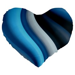 Abstract Pattern Lines Wave Large 19  Premium Heart Shape Cushions