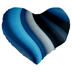 Abstract Pattern Lines Wave Large 19  Premium Flano Heart Shape Cushions