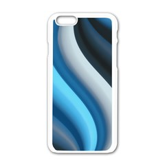 Abstract Pattern Lines Wave Apple Iphone 6/6s White Enamel Case