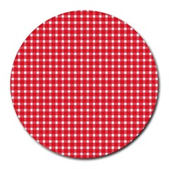 Pattern Diamonds Box Red Round Mousepads