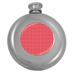 Pattern Diamonds Box Red Round Hip Flask (5 oz)