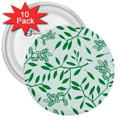 Leaves Foliage Green Wallpaper 3  Buttons (10 pack)