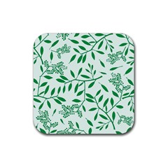 Leaves Foliage Green Wallpaper Rubber Square Coaster (4 Pack)