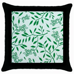 Leaves Foliage Green Wallpaper Throw Pillow Case (Black)