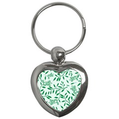 Leaves Foliage Green Wallpaper Key Chains (heart)