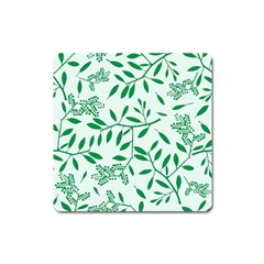 Leaves Foliage Green Wallpaper Square Magnet