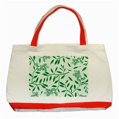 Leaves Foliage Green Wallpaper Classic Tote Bag (Red)