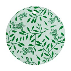 Leaves Foliage Green Wallpaper Round Ornament (Two Sides)