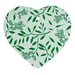 Leaves Foliage Green Wallpaper Heart Ornament (two Sides)