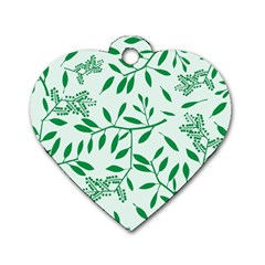 Leaves Foliage Green Wallpaper Dog Tag Heart (two Sides)