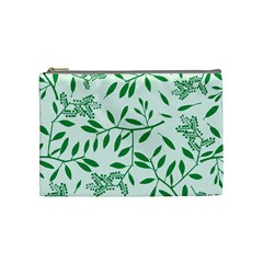 Leaves Foliage Green Wallpaper Cosmetic Bag (Medium)