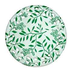 Leaves Foliage Green Wallpaper Round Filigree Ornament (Two Sides)