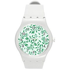 Leaves Foliage Green Wallpaper Round Plastic Sport Watch (m)