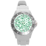Leaves Foliage Green Wallpaper Round Plastic Sport Watch (L) Front
