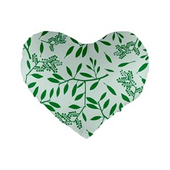 Leaves Foliage Green Wallpaper Standard 16  Premium Heart Shape Cushions