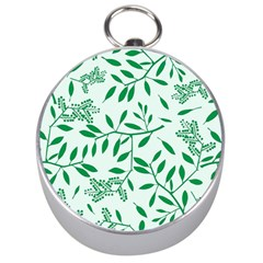 Leaves Foliage Green Wallpaper Silver Compasses