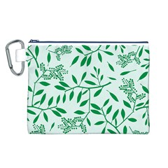 Leaves Foliage Green Wallpaper Canvas Cosmetic Bag (l)