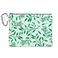Leaves Foliage Green Wallpaper Canvas Cosmetic Bag (XL)
