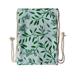 Leaves Foliage Green Wallpaper Drawstring Bag (small)