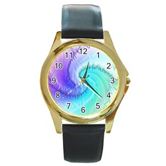 Background Colorful Scrapbook Paper Round Gold Metal Watch