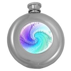 Background Colorful Scrapbook Paper Round Hip Flask (5 oz)