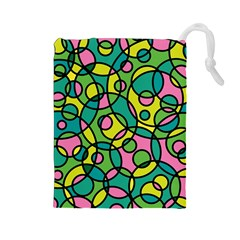 Circle Background Background Texture Drawstring Pouches (large)