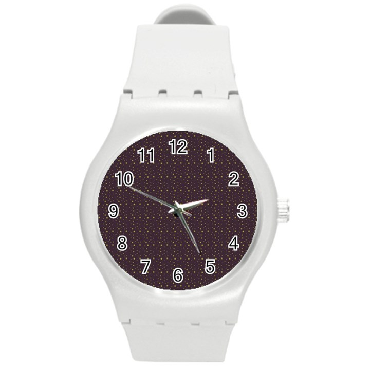 Pattern Background Star Round Plastic Sport Watch (M)