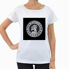 Pattern Motif Decor Women s Loose-Fit T-Shirt (White)