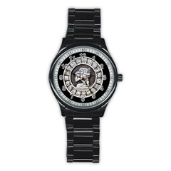 Pattern Motif Decor Stainless Steel Round Watch