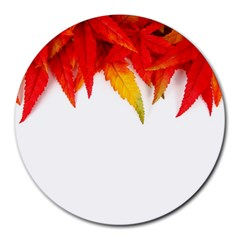 Abstract Autumn Background Bright Round Mousepads