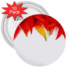 Abstract Autumn Background Bright 3  Buttons (10 Pack)