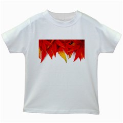 Abstract Autumn Background Bright Kids White T Shirts