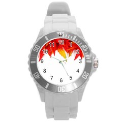 Abstract Autumn Background Bright Round Plastic Sport Watch (l)