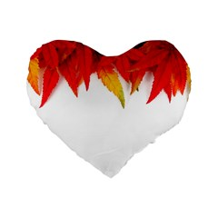 Abstract Autumn Background Bright Standard 16  Premium Flano Heart Shape Cushions