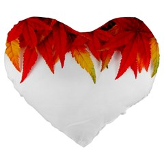 Abstract Autumn Background Bright Large 19  Premium Flano Heart Shape Cushions