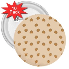 Pattern Gingerbread Star 3  Buttons (10 Pack)